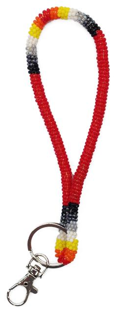 Beaded Wrist Lanyards or Keychain - Red