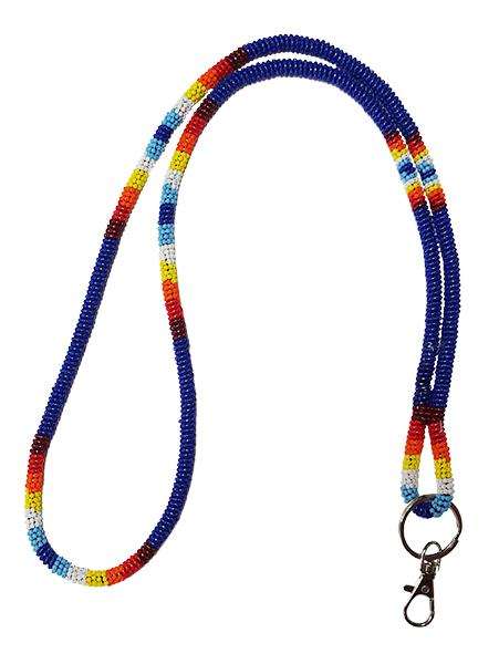 Wrapped Beaded Neck Lanyard - Blue