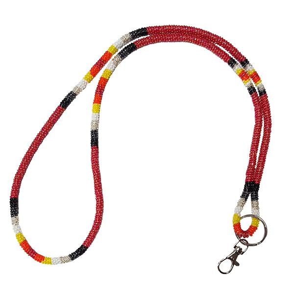 Wrapped Beaded Neck Lanyard - Red