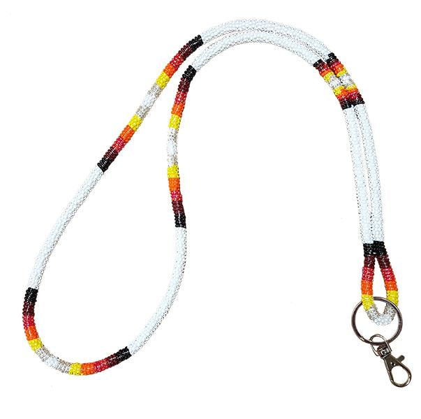 Wrapped Beaded Neck Lanyard - White