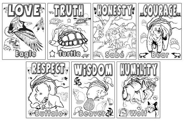 Seven Teaching Coloring Sheets