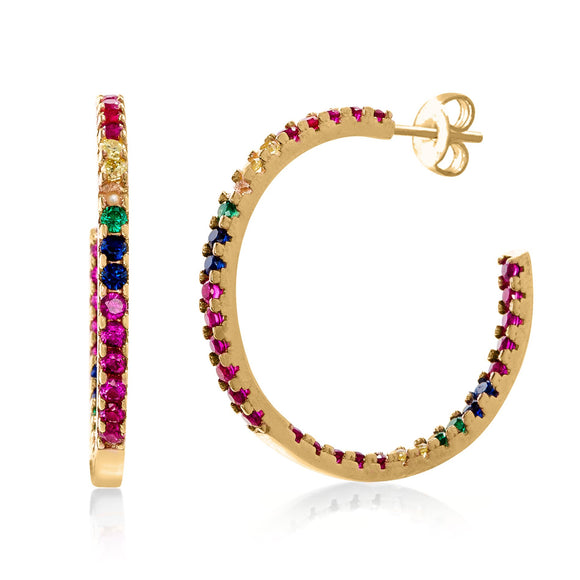 Candy Lover Rainbow Pave Swarovski Hoop Earring (3 Colors available)