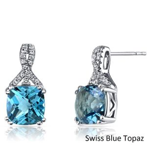 2.00 CT Aquamarine Cushion Round Stud Earring in 18K White Gold Plated