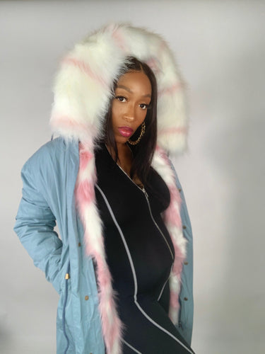 Leader Of The Pack Jacket - Pink and White Vegan Fur