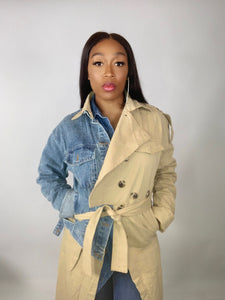 Double Standard Denim and Khaki Trench Coat