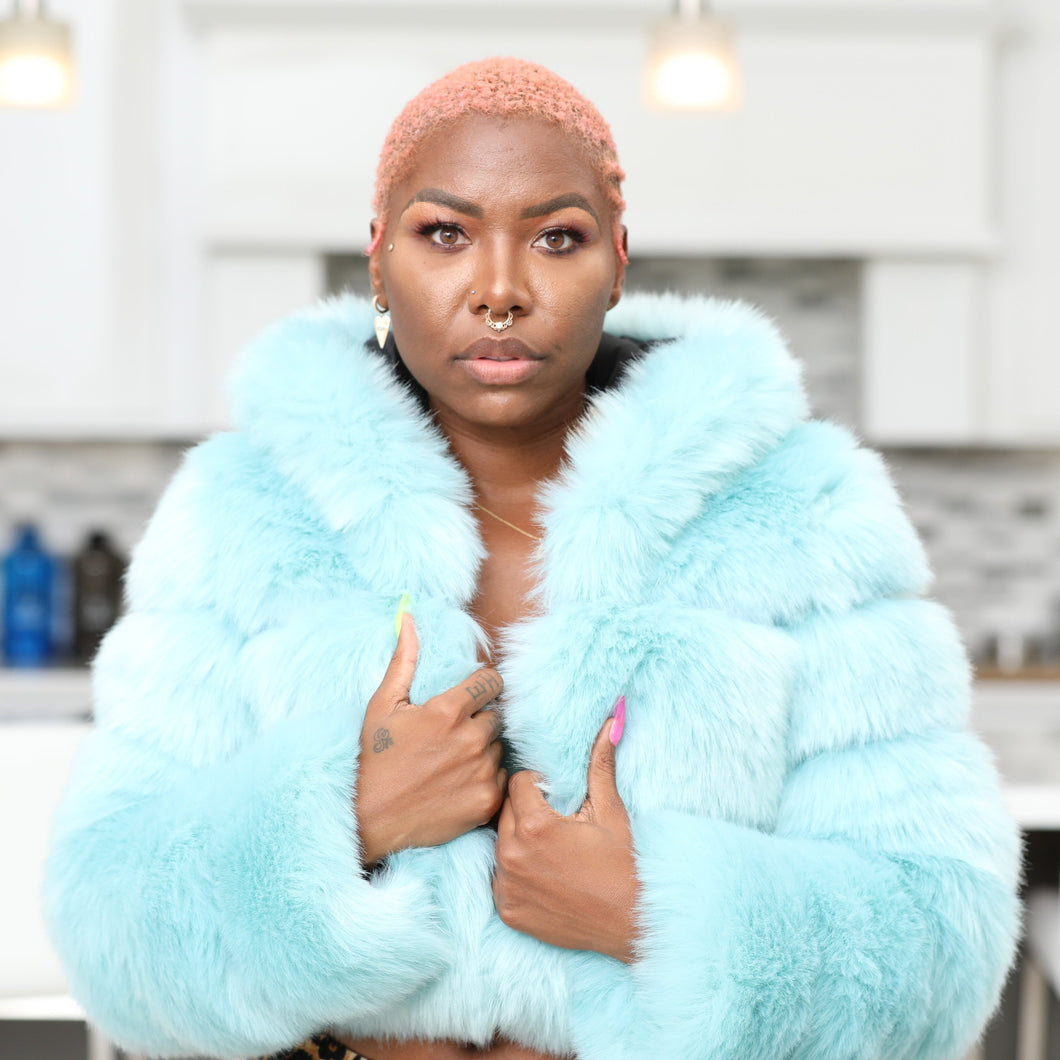 Icy Blue Faux Fur Jacket