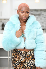Load image into Gallery viewer, Icy Blue Faux Fur Jacket