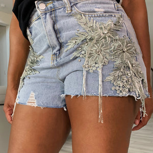 DENIM BLING SHORTS
