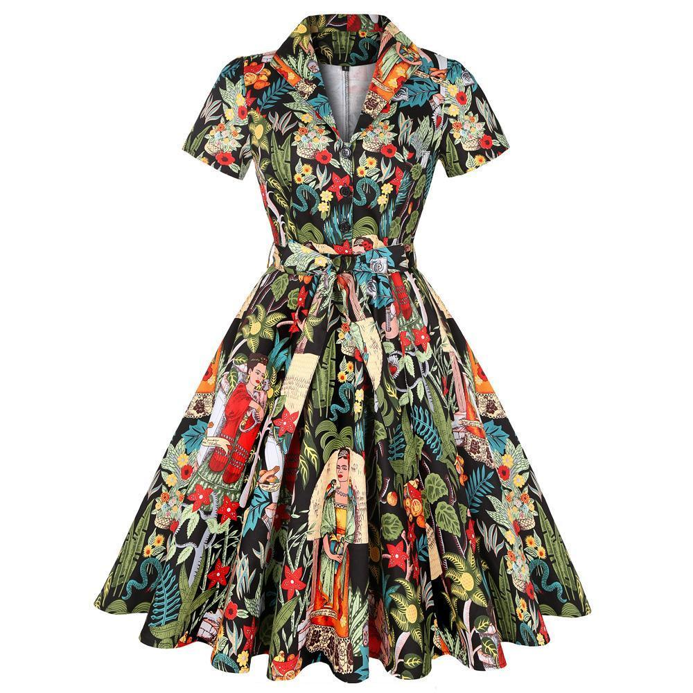 1950S Frida Print Rockabilly Swing Dress