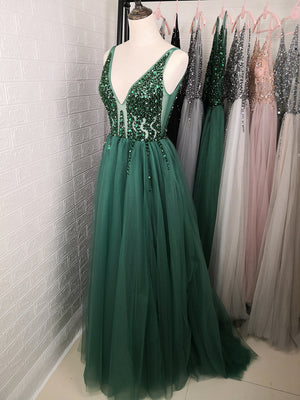 Beading Prom Dresses Long 2020 V Neck Light Gray High Split Tulle Sweep Train Sleeveless Evening Gown A-Line Backless Vestido De
