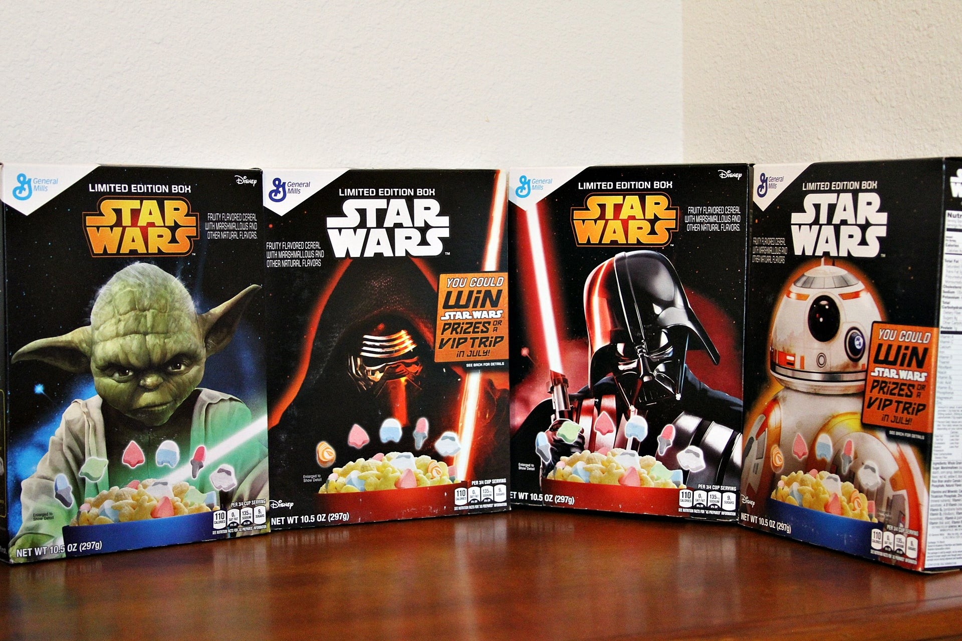 4 Unopened Limited Edition Star Wars Cereal Boxes W/ Free Item