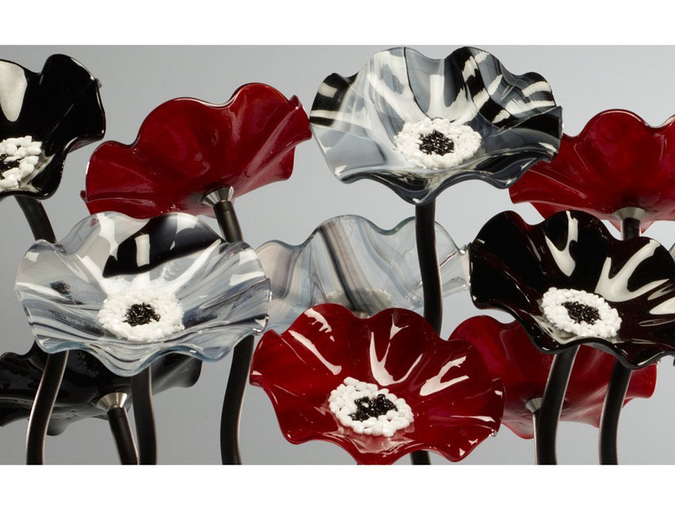 Load image into Gallery viewer, 9 flower Black Cherry - Glass Flowers by Scott Johnson