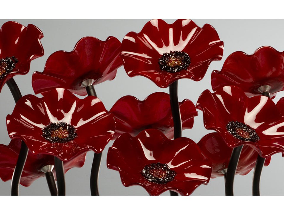 Load image into Gallery viewer, 9 flower All Red - Glass Flowers by Scott Johnson