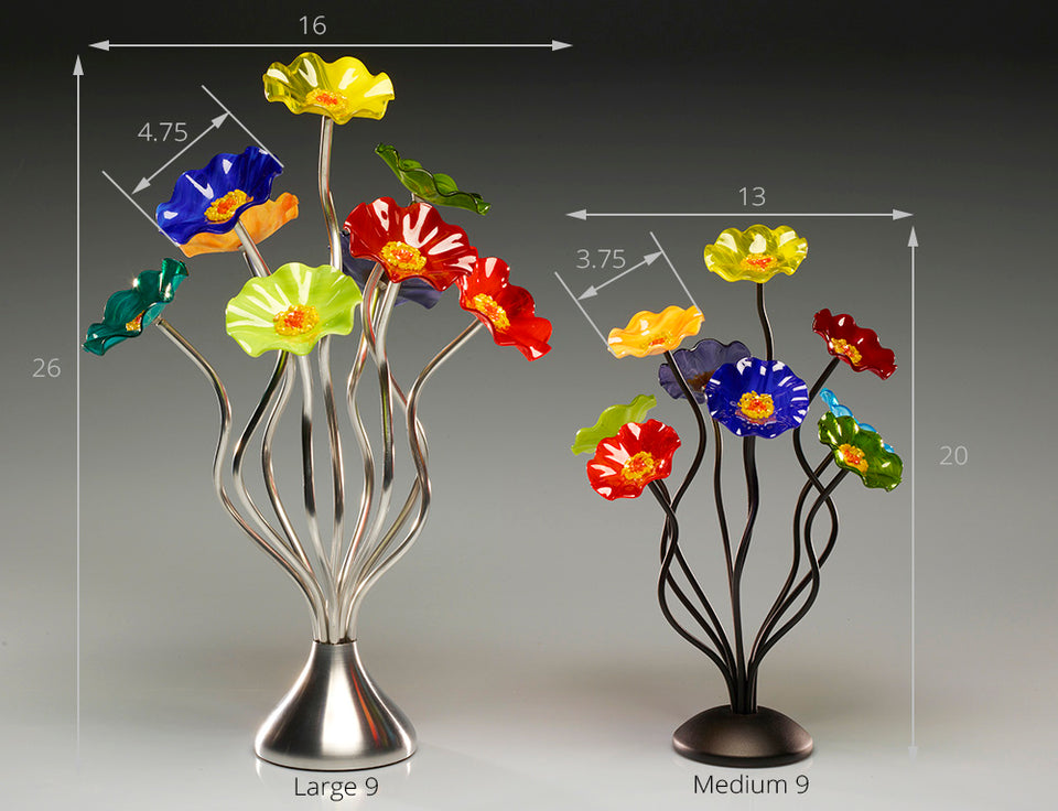 Load image into Gallery viewer, 9 flower Sundrella - Glass Flowers by Scott Johnson