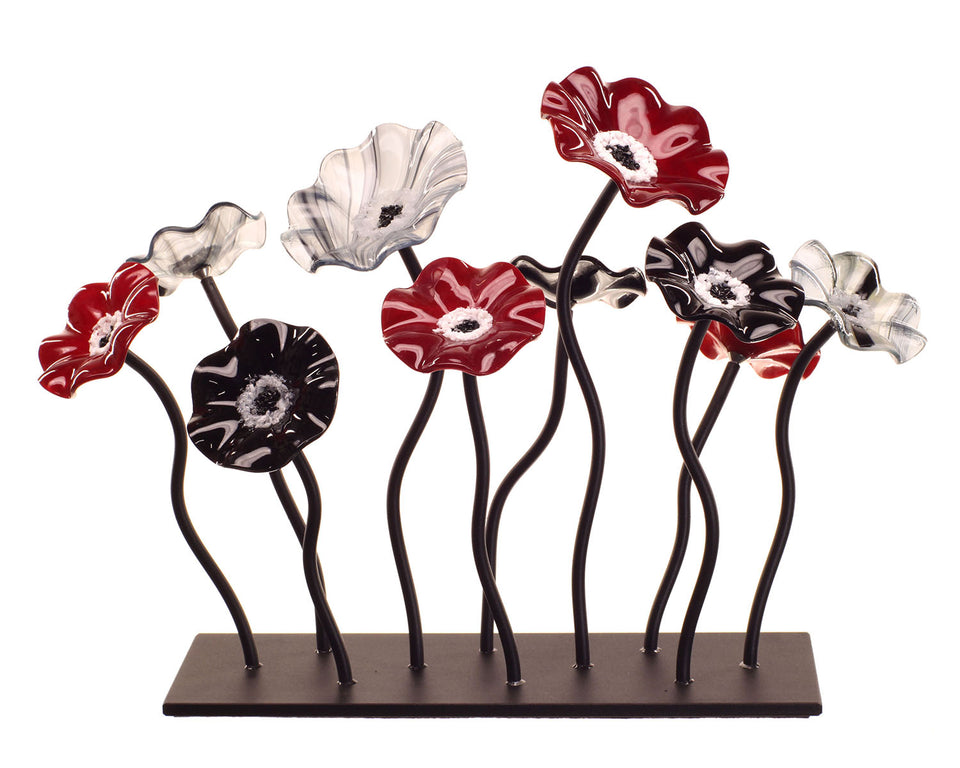 Load image into Gallery viewer, 10 Flower Garden - Black Cherry - Glass Flowers by Scott Johnson