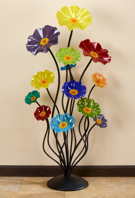 Floor Standing Cluster - Glass Flowers by Scott Johnson