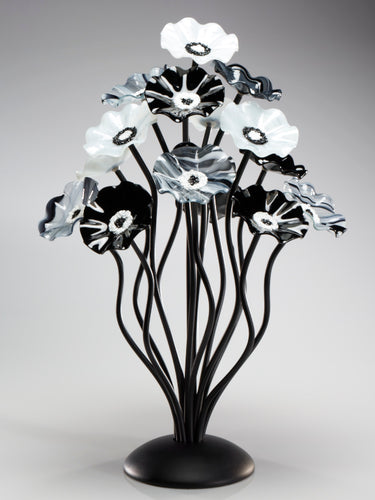 15 flower tree Black and White - Glass Flowers by Scott Johnson