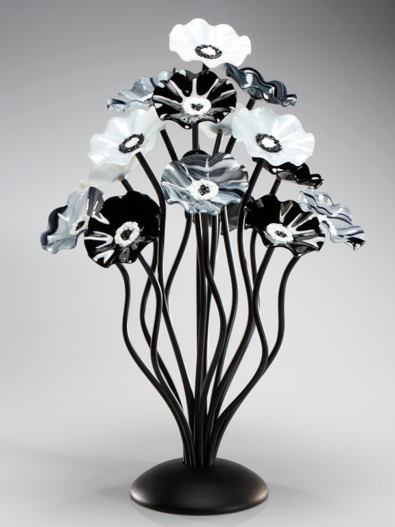 Load image into Gallery viewer, 15 flower tree Black and White - Glass Flowers by Scott Johnson