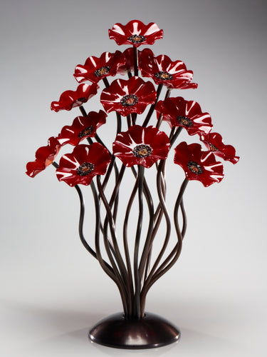 15 flower tree All Red - Glass Flowers by Scott Johnson