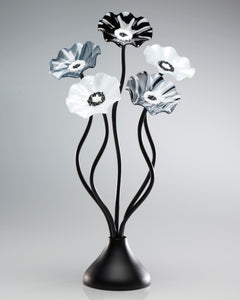 5 Flower Black and White - Glass Flowers by Scott Johnson