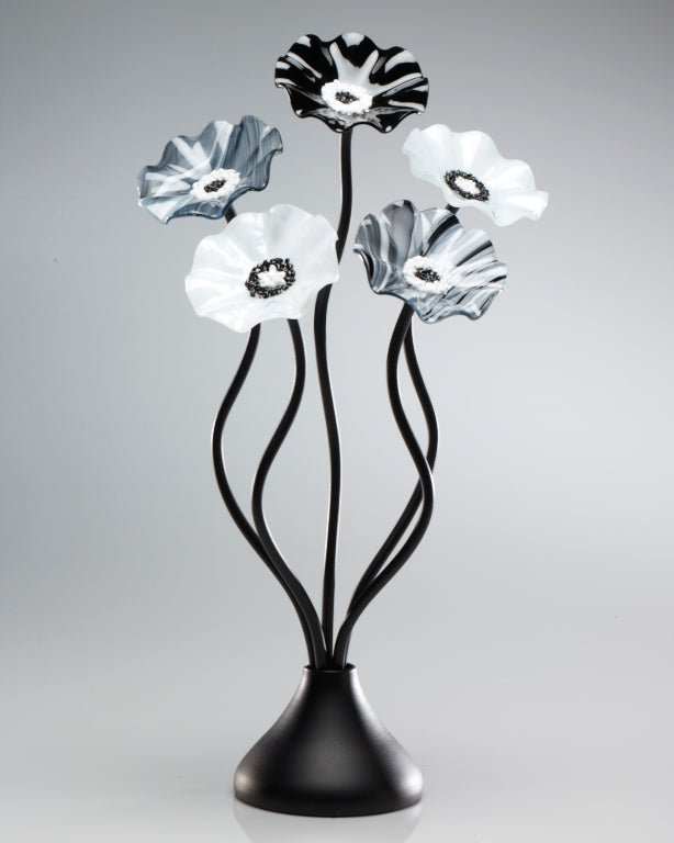 Load image into Gallery viewer, 5 Flower Black and White - Glass Flowers by Scott Johnson