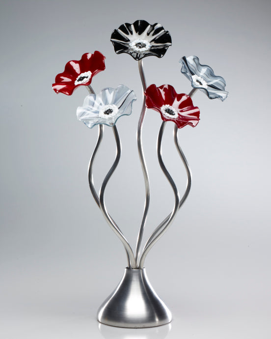 5 Flower Black Cherry - Glass Flowers by Scott Johnson