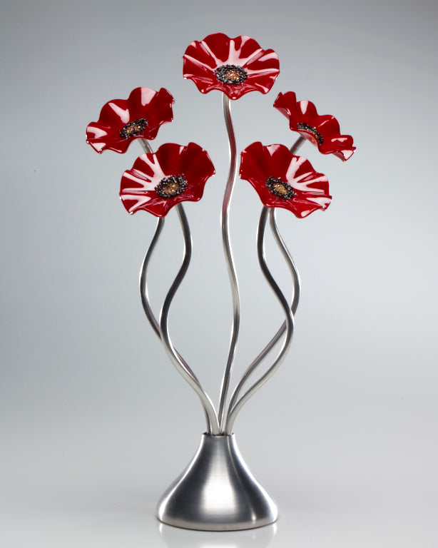 5 Flower All Red - Glass Flowers by Scott Johnson