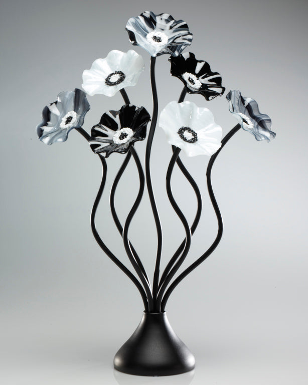 Load image into Gallery viewer, 7 Flower Black and White - Glass Flowers by Scott Johnson