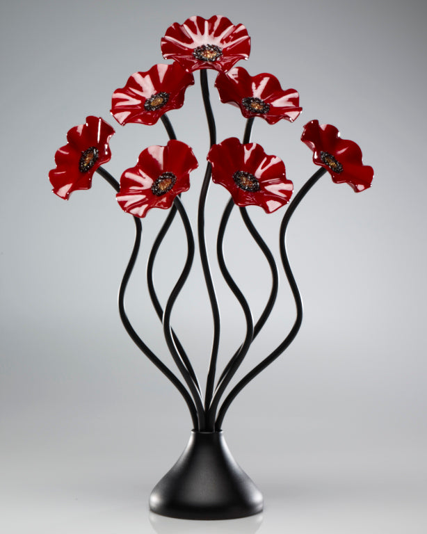 Load image into Gallery viewer, 7 Flower All Red - Glass Flowers by Scott Johnson