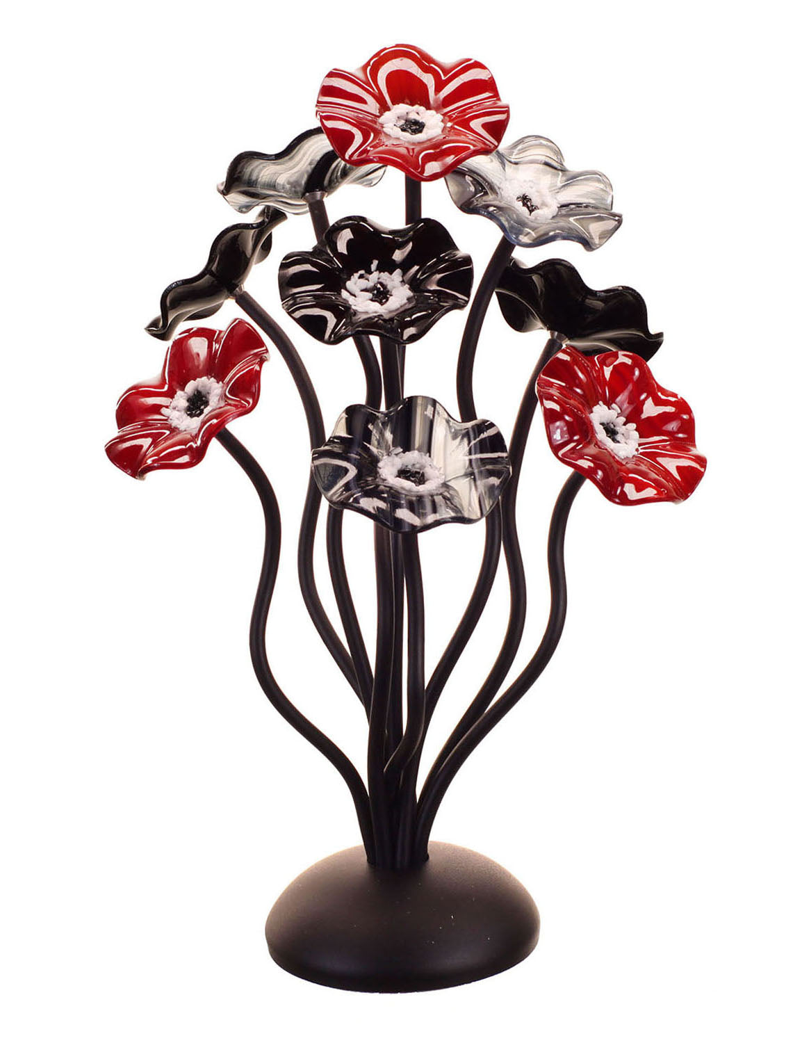 9 flower Black Cherry - Glass Flowers by Scott Johnson