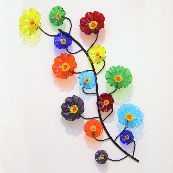 Wall Vine of Glass Flowers Prism Colors - Glass Flowers by Scott Johnson