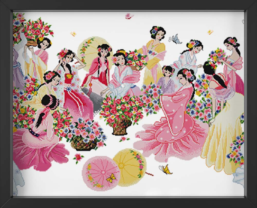 Kreuzstich - junge Frauen in China | 110x60 - Diy - Fadenkunst
