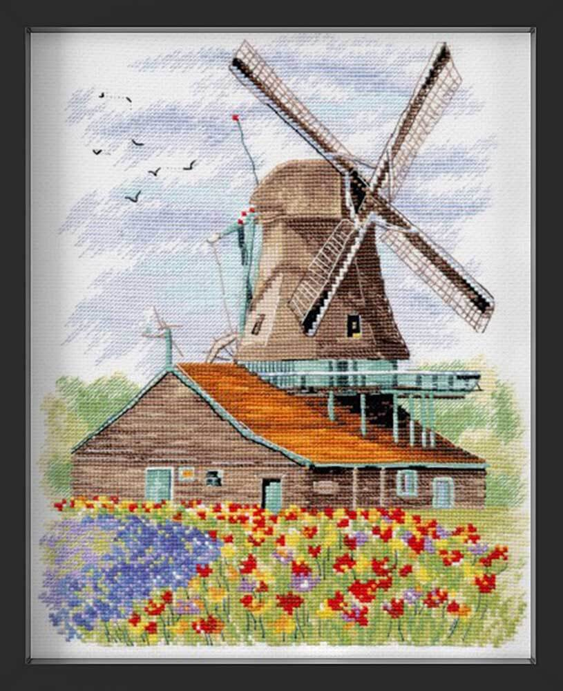 Kreuzstich - Windmühle in Holland | 20x25 cm - Diy - Fadenkunst