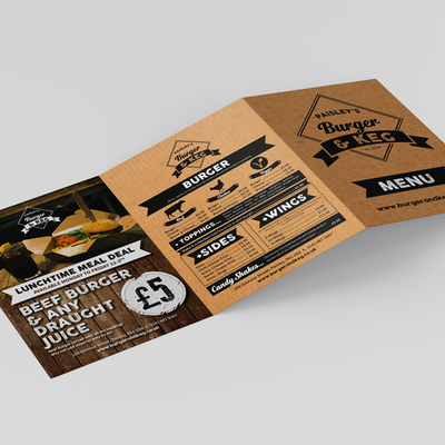 Burger and Keg Folded Leaflet Artwork