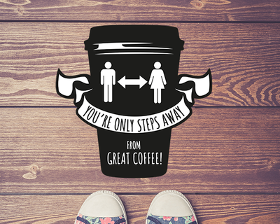 Coffee Shop Floor Sticker Black