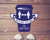 Coffee Shop Floor Sticker Blue