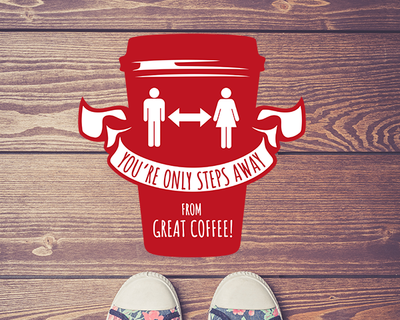 Coffee Shop Floor Sticker Deep Red
