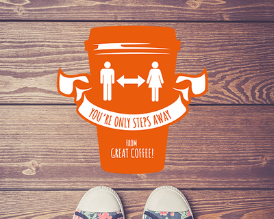 Coffee Shop Floor Sticker Orange