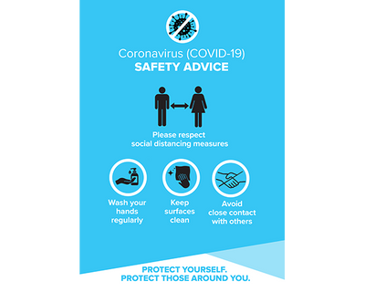 Covid Safety Posters Blue