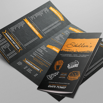 Menu Folded Leaflet Artwork