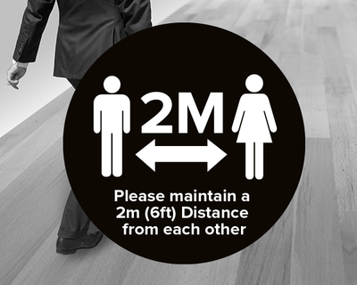 Social Distancing Floor Sticker Black
