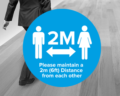 Social Distancing Floor Sticker Blue