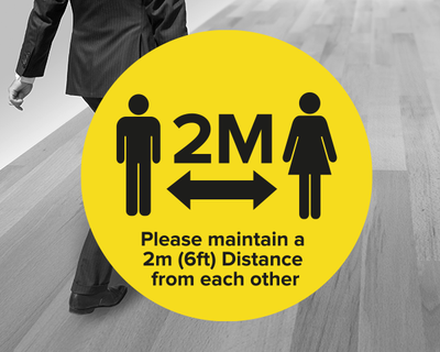 Social Distancing Floor Sticker Yellow