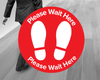 Please Wait Here Floor Stickers Red