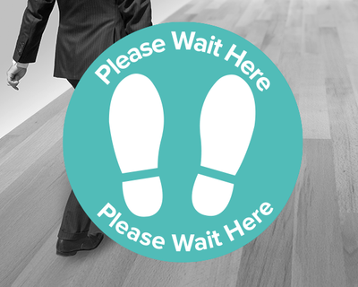 Social Distancing Wait Here Sticker