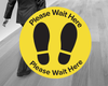 Please Wait Here Floor Stickers Yellow