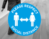 Blue Social Distance Floor Stickers