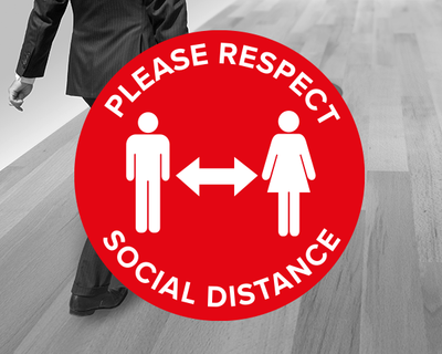 Red Social Distance Floor Stickers