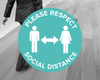 Turquoise Social Distance Floor Stickers