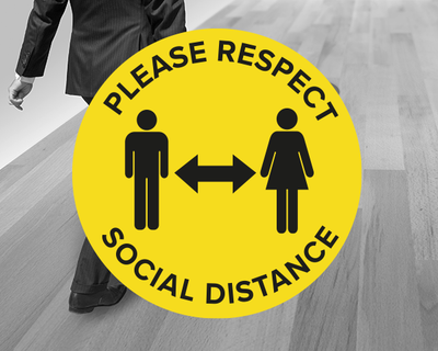 Yellow Social Distance Floor Stickers
